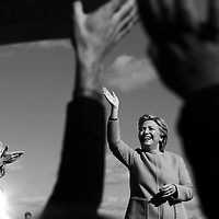 (Manchester, NH - 10/24/16) U.S. Sen. Elizabeth Warren and Democratic presidential candidate Hillary Clinton greet the crowd as they arrive for a campaign rally at St. Anselm College, Monday, October 24, 2016. Staff photo by Angela Rowlings.