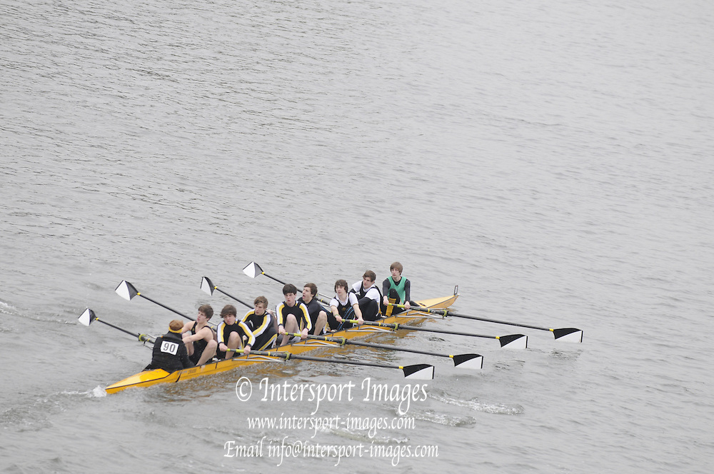 Chiswick. London.  J16 1St 8+, Oratory,   approach the start line as they compete in the 2011 Schools Head of the River Race, Mortlake to Putney, over the  Championship Course.Taken from Chiswick Bridge.  Thursday  17/03/2011 [Mandatory Credit, Peter Spurrier/Intersport-images]