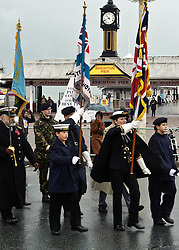 © under license to London News Pictures.  14/11/2010. Armed forces and cadets parade past Brighton pier on their way to the rememberance service held in the Old Steine, Brighton.