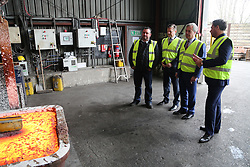 © Licensed to London News Pictures.18/04/2016. Rotherham, UK. UKIP leader Nigel Farage on a visit to TIVAC Alloys, a metal merchant in Rotherham, South Yorkshire. Farage was visiting to hear how the recent steel crisis has affected the company. Photo credit : Ian Hinchliffe/LNP