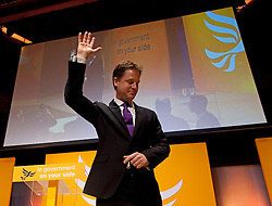 © London News Pictures. 11/03/2012.  Gateshead, UK. Leader of the Liberal Democrats NICK CLEGG waves to the audience after delivering his leaders speech on the final day of the Liberal Democrat Spring conference at the Sage Gateshead on March 11th, 2012. Photo credit : Ben Cawthra/LNP