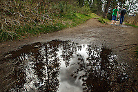 Clouds reflect in a puddle on a trail as hikers enjoy a break in the wet weather Tuesday.