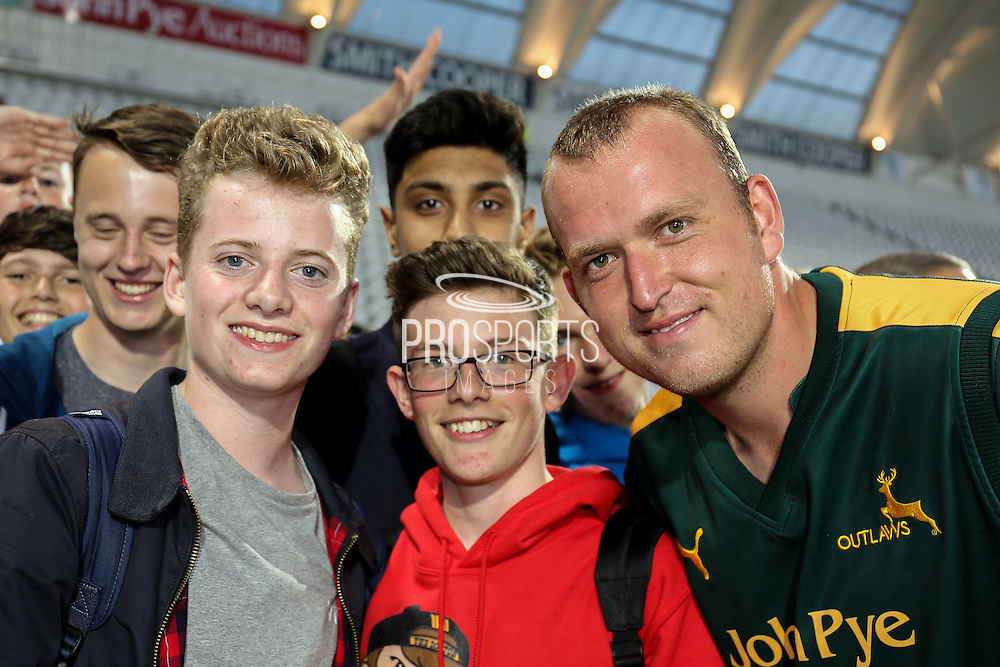 Nottinghamshire Outlaws bowler Luke Fletcher  with fans during the Natwest T20 Blast North Group match between Nottinghamshire County Cricket Club and Yorkshire County Cricket Club at Trent Bridge, West Bridgford, United Kingdon on 15 July 2016. Photo by Simon Davies.