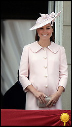 Duchess of Cambridge on the Balcony at Buckingham Palace during Trooping The Colour, London, United Kingdom,<br /> Saturday, 15th June 2013<br /> Picture by Andrew Parsons / i-Images