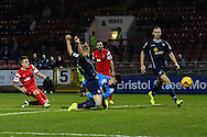 Dean Cox of Leyton Orient (left) scores his team's third goal to make it 3-0 during the Sky Bet League 1 match at the Matchroom Stadium, London<br /> Picture by David Horn/Focus Images Ltd +44 7545 970036<br /> 22/11/2014