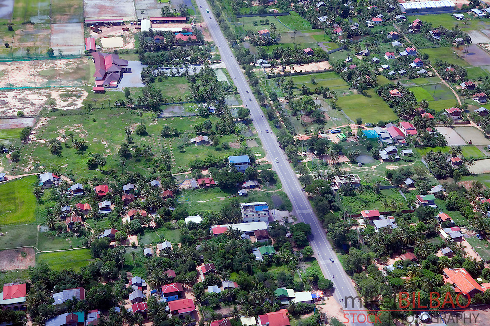 Siem Reap from the air. Cambodia, Asia.