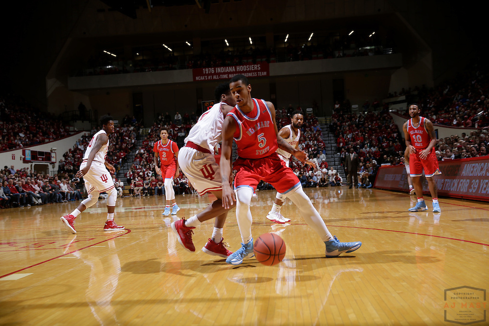 Delaware State guard Kobe Gantz (5) in action as Delaware State played Indiana in an NCCA college basketball game, in Indianapolis, Monday, Dec. 19, 2016. (AJ Mast)