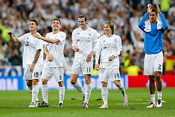 James Rodriguez, Mateo Kovacic, Gareth Bale and Luka Modric of Real Madrid celebrate after Real Madrid win 1-0 to progress for the Champions League Final - Mandatory byline: Rogan Thomson/JMP - 04/05/2016 - FOOTBALL - Santiago Bernabeu Stadium - Madrid, Spain - Real Madrid v Manchester City - UEFA Champions League Semi Finals: Second Leg.