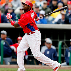 Mar 12, 2013; Clearwater, FL, USA; Philadelphia Phillies first baseman Ryan Howard (6) flies out against the Detroit Tigers during the bottom of the third inning of a spring training game at Bright House Field. Mandatory Credit: Derick E. Hingle-USA TODAY Sports
