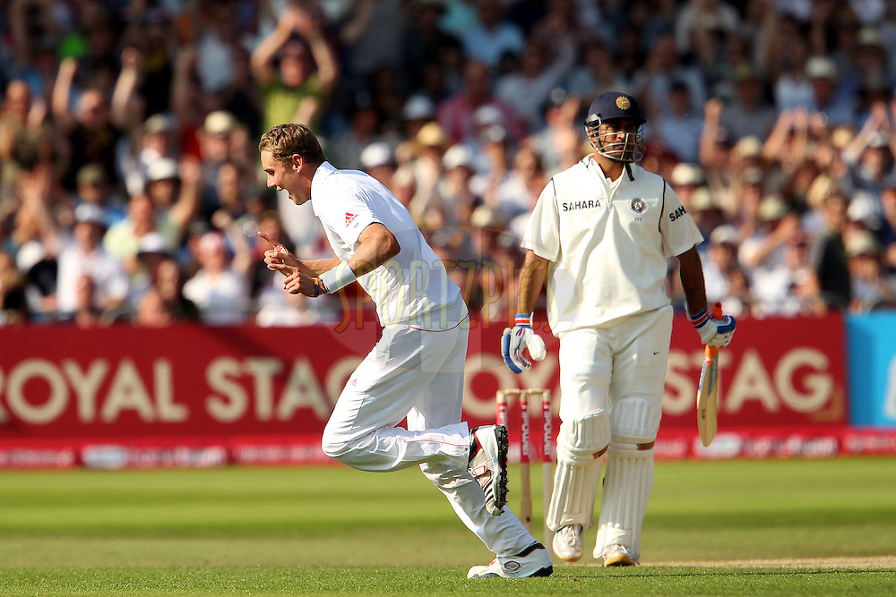 Stuart Broad celebrates the wicket of MS Dhoni during day 2 of the 2nd test between England and India held at Trent Bridge Cricket Ground in Nottingham on the 30th July 2011...Photo by Ron Gaunt/SPORTZPICS/BCCI