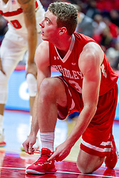 NORMAL, IL - February 16: Luuk Van Bree pauses to fix a loose shoe during a college basketball game between the ISU Redbirds and the Bradley Braves on February 16 2019 at Redbird Arena in Normal, IL. (Photo by Alan Look)