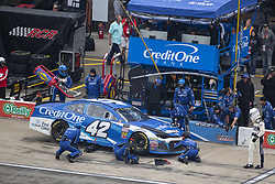 June 10, 2018 - Brooklyn, Michigan, United States of America - Kyle Larson (42) makes a pit stop during the FireKeepers Casino 400 at Michigan International Speedway in Brooklyn, Michigan. (Credit Image: © Stephen A. Arce/ASP via ZUMA Wire)