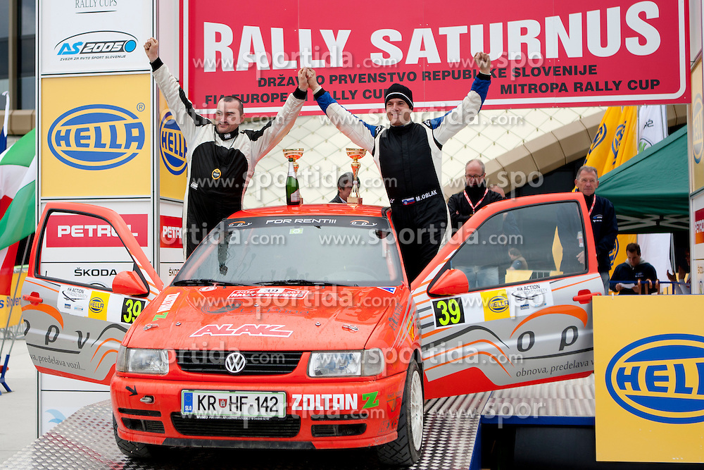 Matej Oblak and Primoz Tavcar of SLO after 35th Rally Saturnus, on May 13, 2012, in Jance, Ljubljana, Slovenia. (Photo by Urban Urbanc / Sportida)