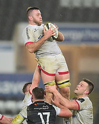 Alan O'Connor of Ulster Rugby wins a line out.Guinness PRO14, Liberty Stadium, Swansea, UK 15/02/2020<br /> Ospreys vs Ulster Rugby<br /> <br /> Mandatory Credit ©INPHO/Alex James