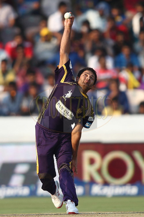 Piyush Chawla of the Kolkata Knight Riders sends down a delivery during the first semi final match of the Oppo Champions League Twenty20 between the Kolkata Knight Riders and the Hobart Hurricanes held at the Rajiv Gandhi Cricket Stadium, Hyderabad, India on the 2nd October 2014<br /> <br /> Photo by:  Shaun Roy / Sportzpics/ CLT20<br /> <br /> <br /> Image use is subject to the terms and conditions as laid out by the BCCI/ CLT20.  The terms and conditions can be downloaded here:<br /> <br /> http://sportzpics.photoshelter.com/gallery/CLT20-Image-Terms-and-Conditions-2014/G0000IfNJn535VPU/C0000QhhKadWcjYs