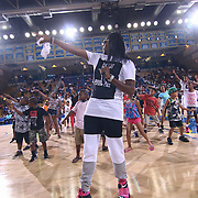 Celebrity Host Fred Green leads a group kids in a dance routine during The 2015 Duffy's Hope Celebrity Basketball Game Saturday, August 01, 2015, at The Bob Carpenter Sports Convocation Center, in Newark, DEL.    <br /> <br /> Proceeds will benefit The Non-Profit Organization Duffy's Hope Youth Programming.