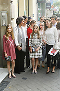 Crown Princess Leonor, Queen Sofia of Spain, Queen Letizia of Spain, Irene Urdangarin, Victoria Federica de Marichalar are seen after going to see the 'Billy Elliot' theatre play on May 19, 2018 in Madrid, Spain
