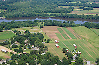 Aerial of tobacco farms near Connecticut River at Glastonbury, CT.