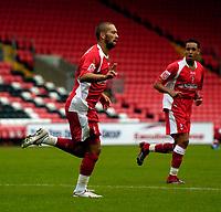 Photo: Jed Wee.<br />Darlington v Swindon Town. Coca Cola League 2. 19/08/2006.<br /><br />Swindon's Christian Roberts (L) celebrates after scoring.