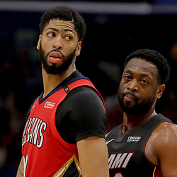Dec 16, 2018; New Orleans, LA, USA; New Orleans Pelicans forward Anthony Davis (23) and Miami Heat guard Dwyane Wade (3) during the second half at the Smoothie King Center. Mandatory Credit: Derick E. Hingle-USA TODAY Sports