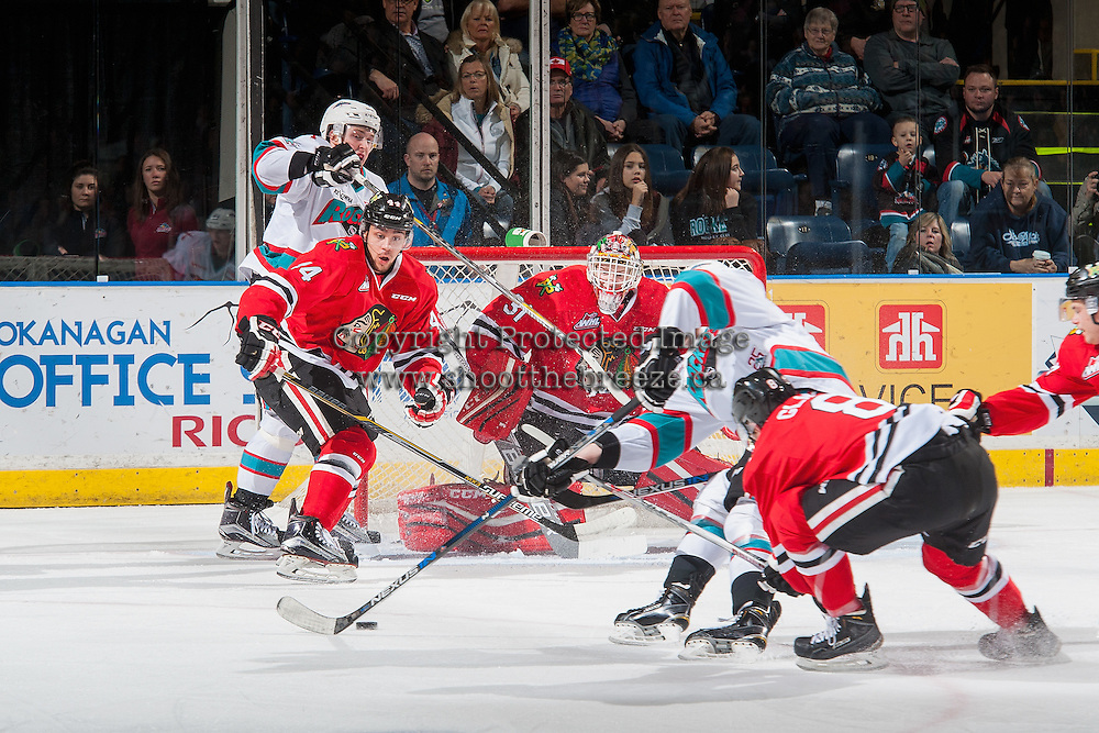 KELOWNA, CANADA - JANUARY 29: Keoni Texeira #44 and Adin Hill #31 of Portland Winterhawks defend the net against the Kelowna Rockets on January 29, 2016 at Prospera Place in Kelowna, British Columbia, Canada.  (Photo by Marissa Baecker/Shoot the Breeze)  *** Local Caption *** Adin Hill; Keoni Texeira;