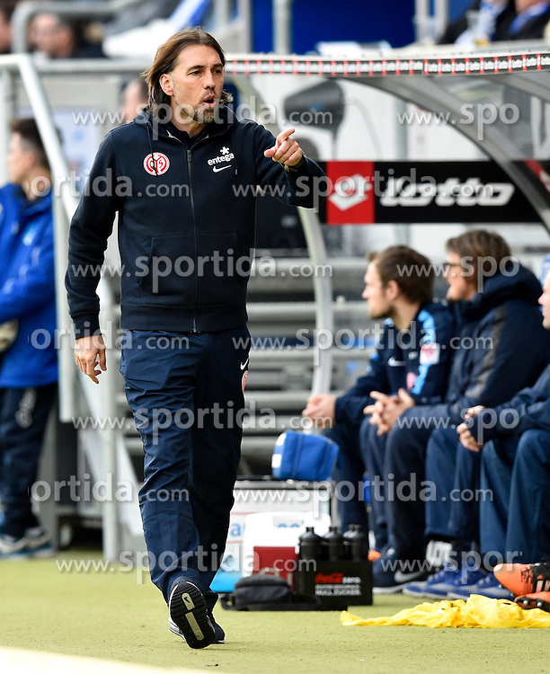 28.02.2015, Rhein Neckar Arena, Sinsheim, GER, 1. FBL, TSG 1899 Hoffenheim vs 1. FSV Mainz 05, 23. Runde, im Bild Trainer Coach Martin Schmidt 1. FSV Mainz 05 am Spielfeldrand Gestik Geste // during the German Bundesliga 23rd round match between TSG 1899 Hoffenheim and 1. FSV Mainz 05 at the Rhein Neckar Arena in Sinsheim, Germany on 2015/02/28. EXPA Pictures &copy; 2015, PhotoCredit: EXPA/ Eibner-Pressefoto/ Weber<br /> <br /> *****ATTENTION - OUT of GER*****