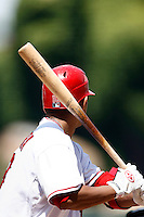 5 May 2007:  MLB Angels at Angel Stadium. Right handed batter with wood bat wearing Easton Gloves. Baseball details.