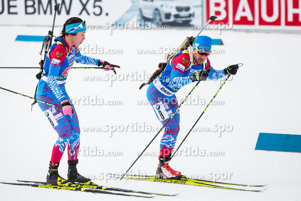 Uliana Kaisheva (RUS) and Evgeniy Garanichev (RUS) during Single Mixed Relay at day 1 of IBU Biathlon World Cup 2018/19 Pokljuka, on December 2, 2018 in Rudno polje, Pokljuka, Pokljuka, Slovenia. Photo by Ziga Zupan / Sportida