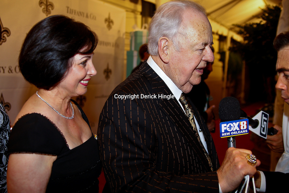 June 16, 2010; New Orleans, LA, USA; New Orleans Saints owner Tom Benson and his wife Gayle talk to the media about  receiving their championship rings at the Roosevelt Hotel where the New Orleans Saints received their Super Bowl rings for their victory of the Indianapolis Colts in Super Bowl XLIV.  Mandatory Credit: Derick E. Hingle