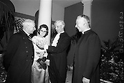 Inauguration of Eamon de Valera as President. Atending a reception in Dublin Castle for the Inauguration of President de Valera were (l-r) Very Rev. J.W. Armstrong, Dean of St. Patrick's Cathedral; Mrs. Armstrong; Rt. Rev. Dr. Alfred Martin, Moderator of the General Assembly Presbyterian Church in Ireland; Mrs. Martin; and Rev. V.G. Corkey, Chaplain to the Moderator of the General Assembly.<br /> 25.06.1966