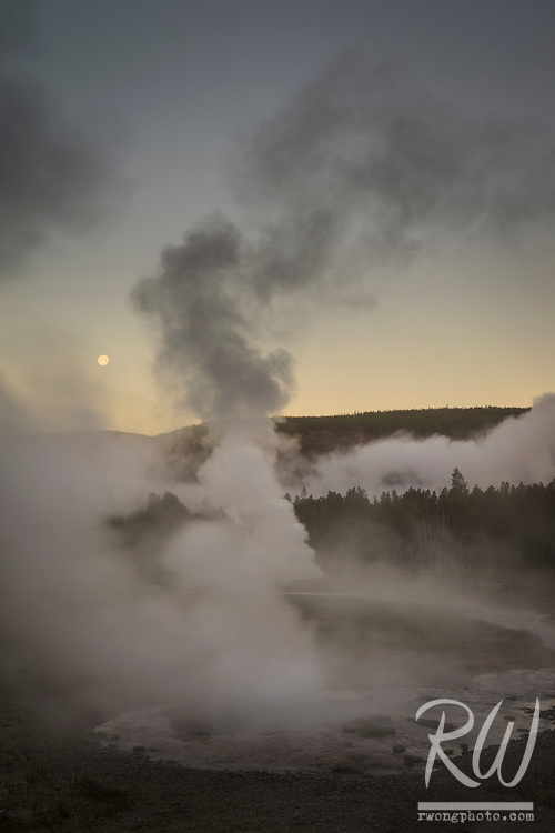 Full Moonset & Upper Geyser Basin Sunrise, Yellowstone National Park, Wyoming