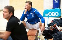 DELFT - Philip Meulenbroek (Kampong) noodgewongen op de bank, tijdens de zaalhockey hoofdklasse competitiewedstrijd HDM-KAMPONG (7-8). COPYRIGHT KOEN SUYK