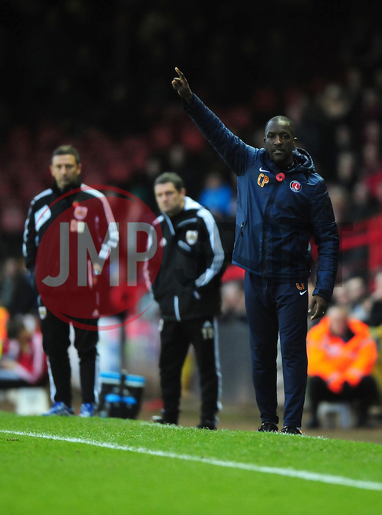 Bristol City Manager, Derek McInnes (left) and Charlton Athletic's Manger Chris Powell (right) - Photo mandatory by-line: Joe Meredith/JMP  - Tel: Mobile:07966 386802 11/11/2012 - Bristol City v Charlton Athletic - SPORT - FOOTBALL - Championship -  Bristol  - Ashton Gate Stadium -
