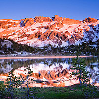 Enjoyed an amazing alpenglow on the peaks surrounding Young Lakes in the backcountry of Yosemite.