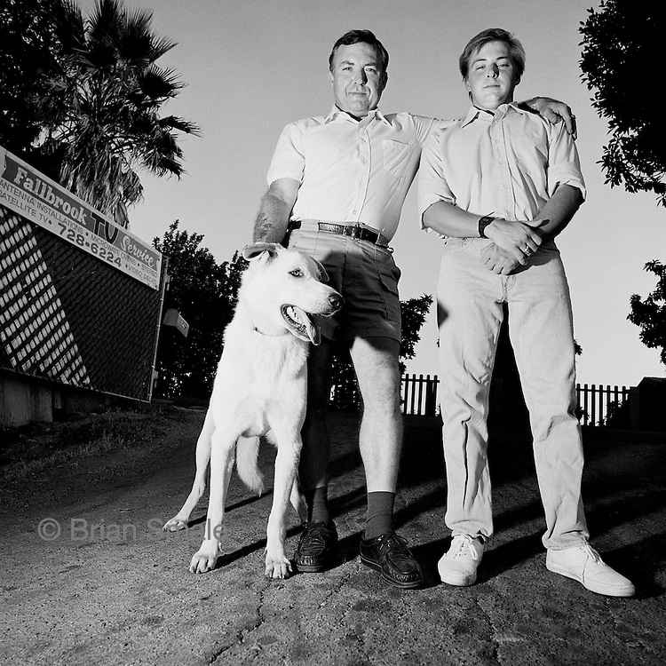 Tom and John Metzger, of the White Aryan Resistance.  (W.A.R.) Photographed by Brian Smale for Rolling Stone Magazine.