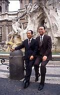 Roma 1985.Hu Yaobang segretario generale del Comitato centrale del Partito Comunista Cinese con Li Peng a Piazza  Navona <br /> Rome 1985.Hu Yaobang General Secretary of the Central Committee of the Communist Party of China, with Li Peng, in Piazza Navona