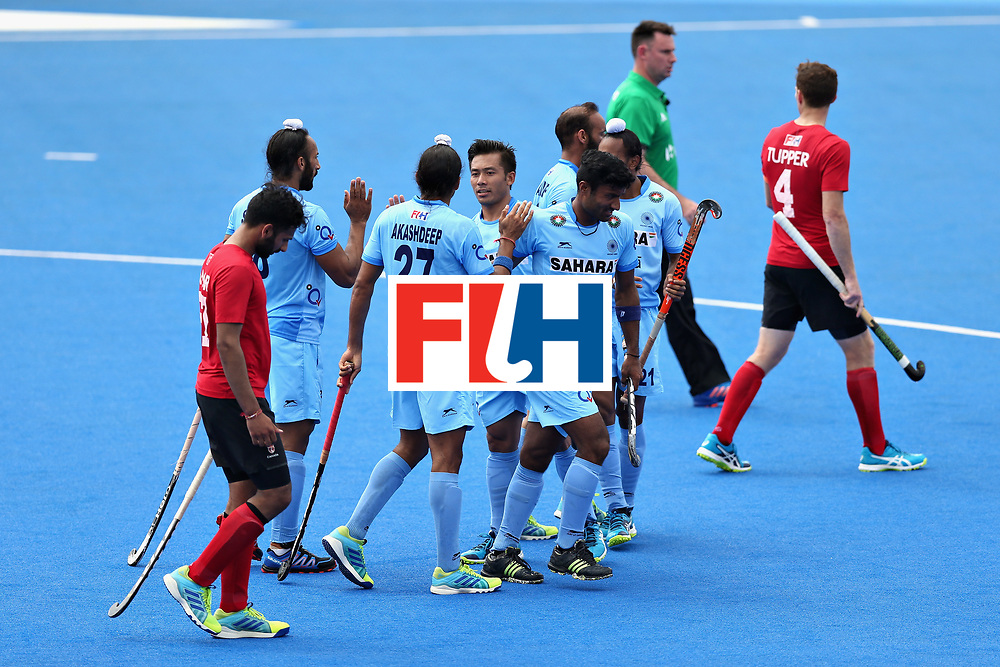 LONDON, ENGLAND - JUNE 17: Sardar Singh of India celebrates scoring the third goal of India during the Hero Hockey World League Semi Final match between Canada and India at Lee Valley Hockey and Tennis Centre on June 17, 2017 in London, England.  (Photo by Alex Morton/Getty Images)