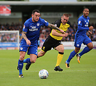 Jake Buxton of Burton Albion and Lee Tomlin of Cardiff City during the Sky Bet Championship match at the Pirelli Stadium, Burton upon Trent<br /> Picture by Mike Griffiths/Focus Images Ltd +44 7766 223933<br /> 05/08/2017