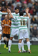 Aaron Martin of Yeovil Town (facing) celebrates making it 1-0 during the Sky Bet League 1 match at the Coral Windows Stadium, Bradford<br /> Picture by Richard Land/Focus Images Ltd +44 7713 507003<br /> 06/09/2014