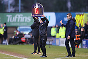 Shrewsbury Town's Manager Sam Ricketts is clearly unhappy with the 6 minutes injury time during the The FA Cup fourth round match between Shrewsbury Town and Wolverhampton Wanderers at Greenhous Meadow, Shrewsbury, England on 26 January 2019.