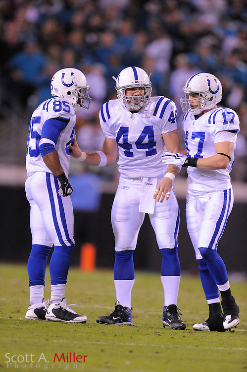 Dec. 17, 2009; Jacksonville, FL, USA; Indianapolis Colts wide receiver Pierre Garcon (85), tight end Dallas Clark (44) and wide receiver Austin Collie (17) during the Colts 35-31 win over the Jacksonville Jaguars at Jacksonville Municipal Stadium. The Colts won. 35-31. ©2009 Scott A. Miller.© 2009 Scott A. Miller