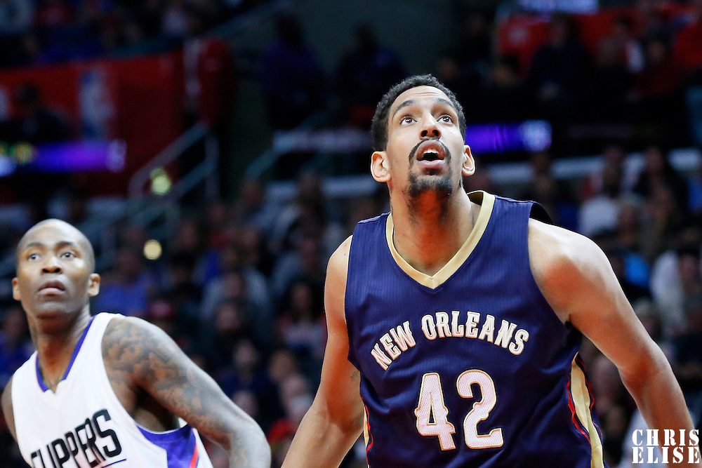 10 January 2016: New Orleans Pelicans center Alexis Ajinca (42) vies for the rebound with Los Angeles Clippers guard Jamal Crawford (11) during the Los Angeles Clippers 114-111 overtime victory over the New Orleans Pelicans, at the Staples Center, Los Angeles, California, USA.