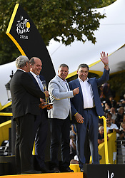 July 29, 2018 - Paris Champs-Elysees, France - PARIS CHAMPS-ELYSEES, FRANCE - JULY 29 : Philippe Close, Alain Courtois, Eddy Merckx  during stage 21 of the 105th edition of the 2018 Tour de France cycling race, a stage of 116 kms between Houilles and Paris Champs-Elysees on July 29, 2018 in Paris Champs-Elysees, France, 29/07/18 (Credit Image: © Panoramic via ZUMA Press)