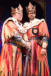 "© Licensed to London News Pictures. 26/07/2012. London, England. L-R: Jon Culshaw and Marcus Brigstocke as ""King Arthur"". Monty Python's ""Spamalot"" musical based on the film ""Monty Python and the Holy Grail"" opens at the Harold Pinter Theatre in London. The role of King Arthur is shared between Jon Culshaw and Marcus Brigstocke. Photo credit: Bettina Strenske/LNP"