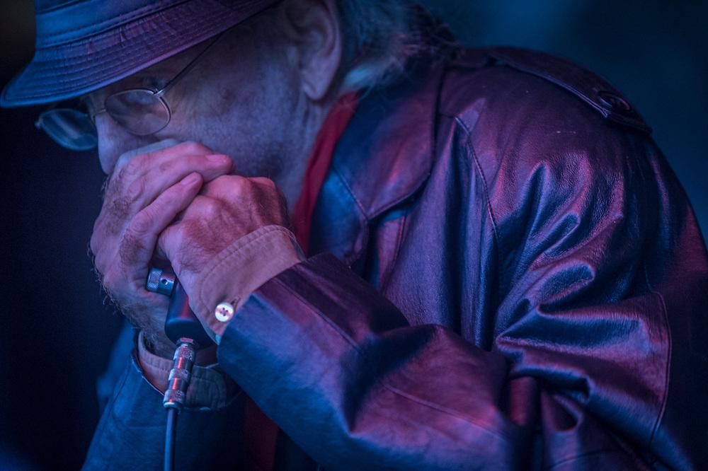Bluesman,Gary Sloan performs at the Alaska State Fair, in Palmer, Alaska