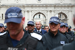 © Licensed to London News Pictures. 09/06/2018. London, UK. GEERT WILDERS. Thousands of supporters of EDL founder Tommy Robinson ( real name Stephen Yaxley-Lennon ) demonstrate in Westminster after Robinson was convicted of Contempt of Court . Robinson was already serving a suspended sentence for Contempt of Court over a similar incident , when he was convicted on Friday 25th May 2018 . Photo credit: Joel Goodman/LNP