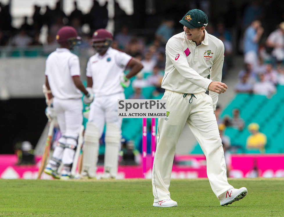 3rd Test Match 2015-16 Day 1, Australia v West Indies, Sydney Cricket Ground; 3 January 2016<br /> Australian Steve Smith (C) is amused by the mornings play on day 1 of the third test