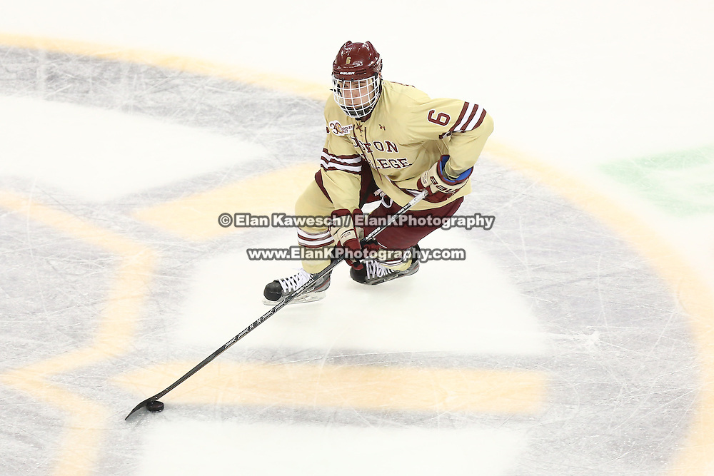 Steven Santini #6 of the Boston College Eagles controls the puck during The Beanpot Championship Game at TD Garden on February 10, 2014 in Boston, Massachusetts. (Photo by Elan Kawesch)