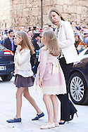 Princess Leonor, Queen Letizia of Spain and Princess Sofia attended the Easter Mass at the Cathedral of Palma de Mallorca on April 5, 2015 in Palma de Mallorca, Spain.