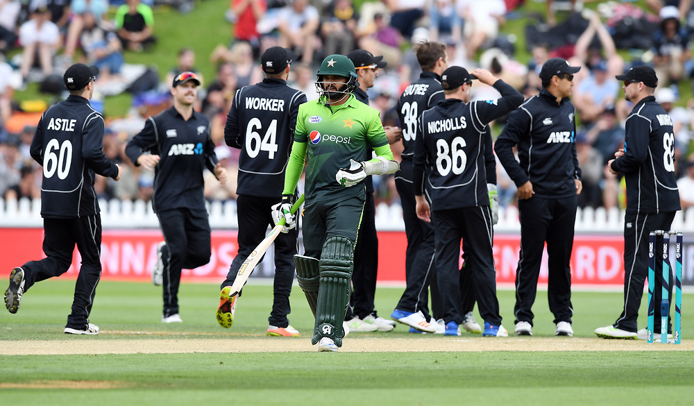 Pakistan's Azhar Ali out for 6 lbw to New Zealand's Tim Southee in the first one day cricket international at the Basin Reserve, Wellington, New Zealand, Saturday, January 06, 2018. Credit:SNPA / Ross Setford  **NO ARCHIVING**